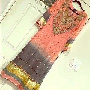 Pink/ grey pakistani party wedding wear